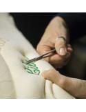 Prénom brodé sur matelas bio bébé latex naturel