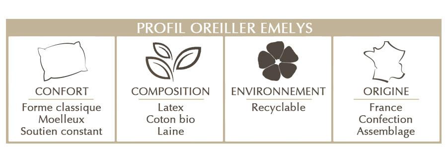 oreiller Emelys latex naturel